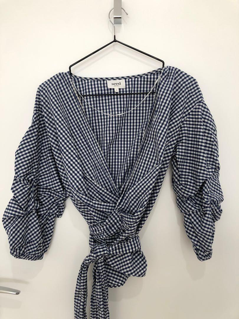 SEED heritage navy white check wrap top