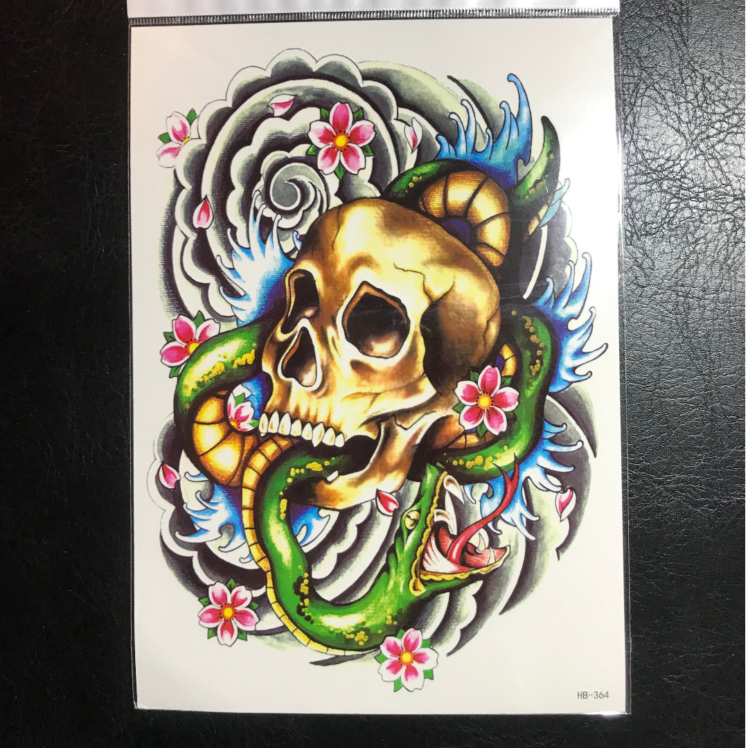 Traditional Japanese American Skull Snake Cloud Sakura Cherry