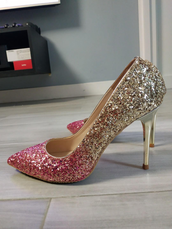 Wedding Shoes 粉紅金色漸變閃閃高跟鞋 晚裝結婚鞋 38碼 9cm高