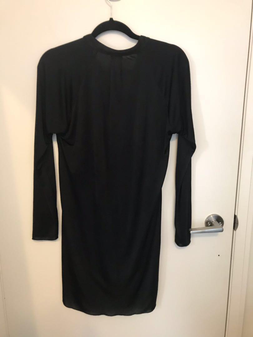 Wilfred (Aritzia) Long-Sleeve Black Shirt Dress XS
