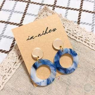 🚚 大理石紋路耳環