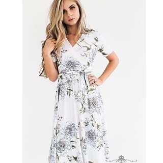 NEW White Floral Wrap Dress #STB50
