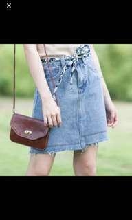 Denim Skirt with floral belt