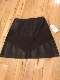 BNWT Zara Faux Leather and Suede Skirt Sz S