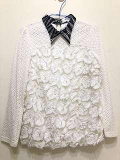 🚚 (幫媽媽賣系列)立體花朵V領長袖上衣