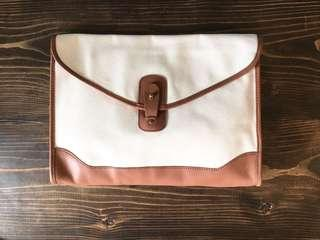CLUB MONACO canvas clutch bag