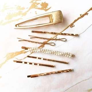 Gold Pearl Hair Clip