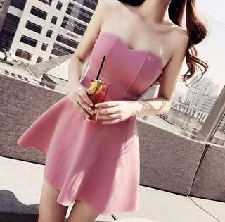 🚚 粉色平口洋裝