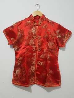 Atasan cheongsam wanita merah motif bunga lengan pendek sz XL
