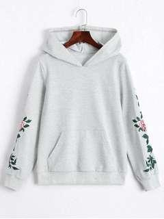 Zaful Floral Patched Front Pocket Hoodie (Light Grey)