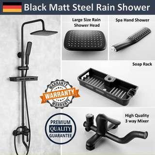 Wholesale Price Matt Black Premium Rain Shower Set (Full Set With Soap Rack)