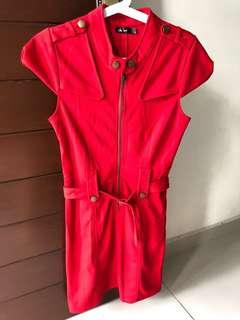 Chic Booti Office Wear Red Dress