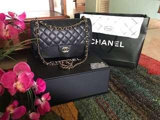 Chanel Bag jumbo double flap black caviar gwh