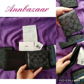 INSTOCK SPECIAL OFFER! Coach Signature with extra ID compartment Billfold Wallet for Men (100% Authentic)