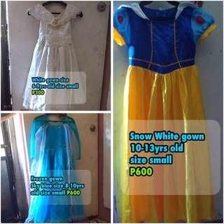 Frozen gown, Snow White and white gown
