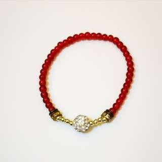 🆕 Red and Gold 'Milly' Bracelet with Shamballa Bead - Handcrafted Jewelry
