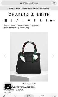 🚚 CHARLES & KEITH SCARF WRAPPED TOP HANDLE BAG