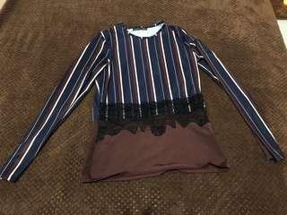 Zara original navy stripes brown
