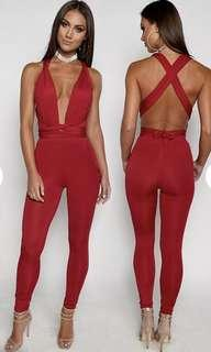 luxe life jumpsuit red