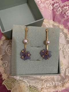 紫色小花珍珠夾式耳環#半價良品市集