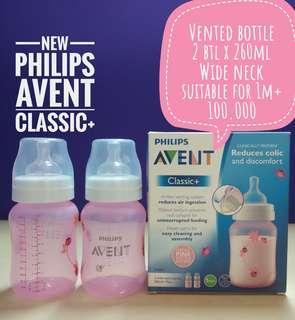 Philips Avent Classic+, 260ml x 2 botol, Pink, untuk 1+ bln
