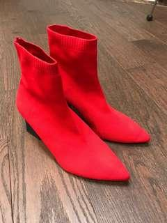 Zara red sock boots