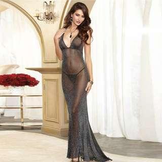 🚚 黑色閃色網紗透式裝 性感調帶睡裙