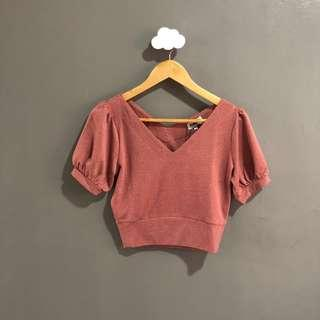 BNWT Pomelo puffed sleeves cropped top