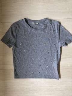 BNWOT grey Zara pearl top