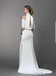 Full buttoned white elegant dress / evening gown / Wedding Gown
