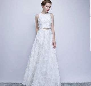 White feather elegant dress / evening gown / Wedding Dress