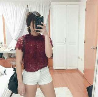 Zara Lace Top - Maroon