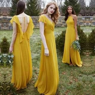 Yellow elegant Dress / bridesmaid dress / evening gown
