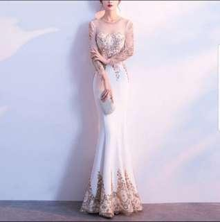 White gold elegant beads dress / evening gown / Wedding Gown
