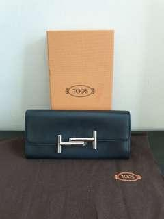 Authentic Tods black leather long wallet