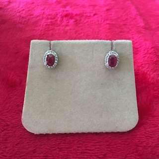 Genuine Ruby earrings - teeny weeny