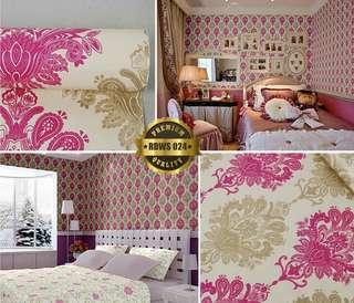 Wallpaper Dinding Pink Shabby