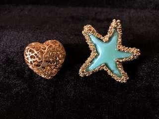 Star and Heart Fashion Rings (take both)