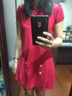 🚚 Crocodile鱷魚牌紅色polo款短袖洋裝(m size)(含運)