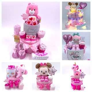🚚 Baby Diaper Cake for Girls