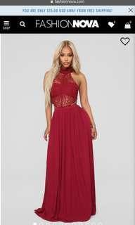 BNWT Fashion Nova Burgundy Prom Dress- SIZE S