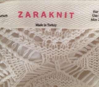 🚚 Zara knit crochet cream white dress
