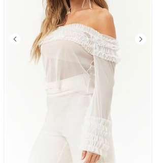 BNWT Forever 21 Ruffled Off Shoulder Top SIZE M