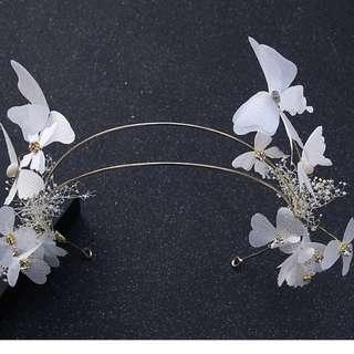 {RENT} White Two Band Floral Crown (RC-004)