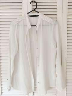 Zara off white long sleeve top
