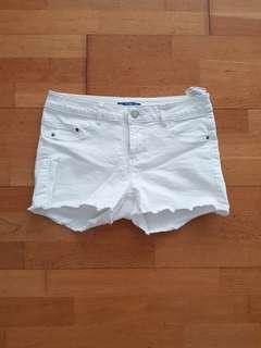 Pull & Bear White Denim Frayed Shorts