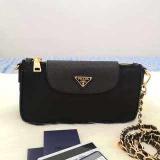 e12a0b05f164 Authentic Prada BT0779 Tessuto Nylon Convertible Clutch Sling Bag in Nero