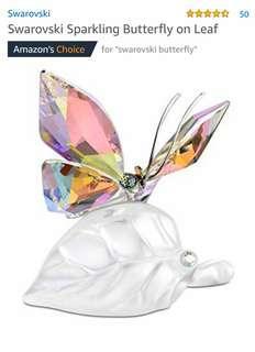 Swarovski Sparkling Butterfly on Leaf 水晶湖蝶擺設