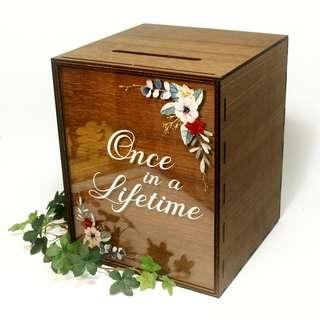 Wooden Angbao Box Custom with Acrylic (Custom Front Print)