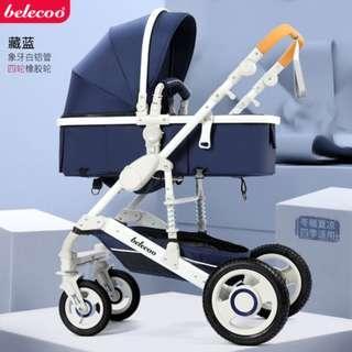 預購-Belecoo嬰幼兒高景觀雙向推車可躺/可座-(寶藍色)